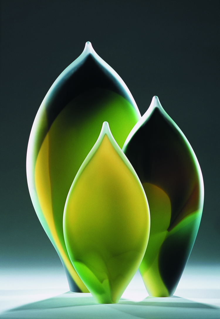 """Leaf Forms Green"" 2005 largest form H600mm x W330mm x D150mm"