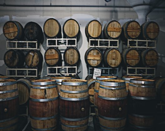 (The Barrel aging process at work)
