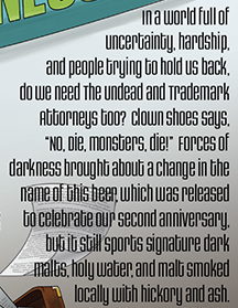 Label excerpt from  Undead Party Crasher