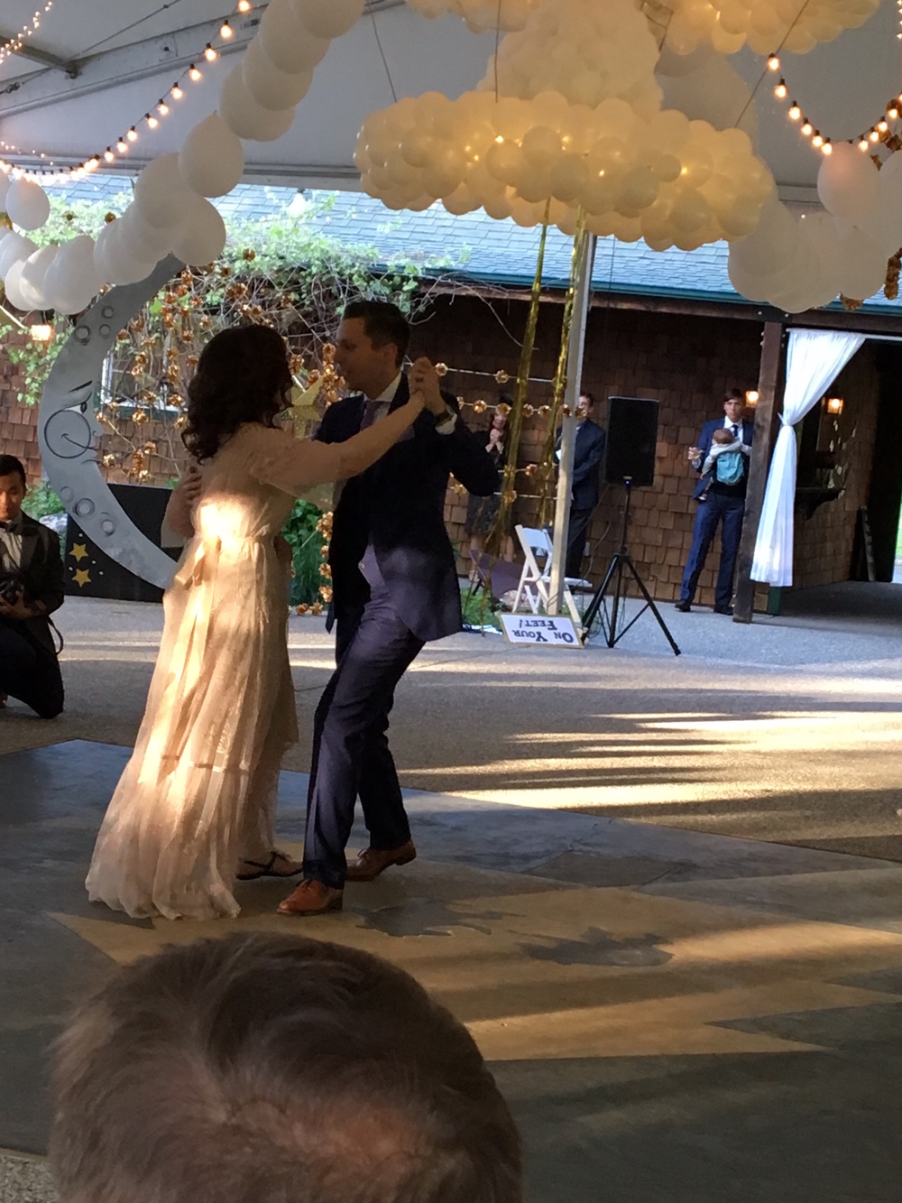 The first dance: Alex and Glory as husband and wife (with big brother and baby watching)!