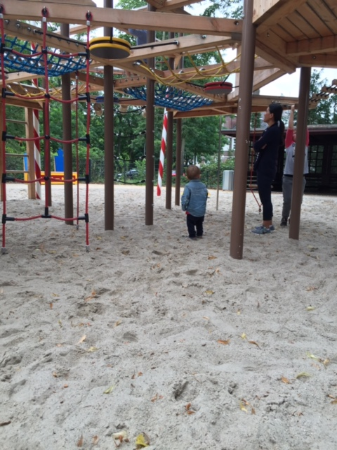 Solomon contemplating Thiel Park ropes.jpg