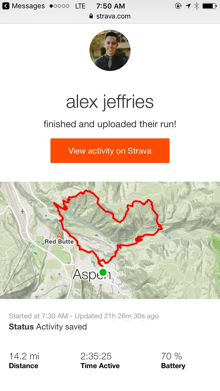 Alex's Strava report and map recording his run.
