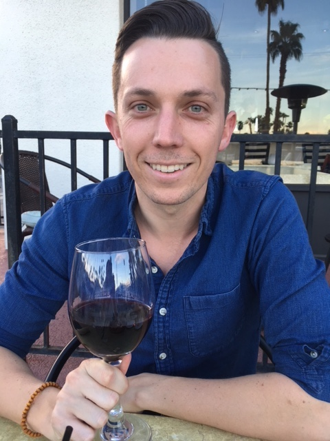 Alex enjoying wine for my birthday!