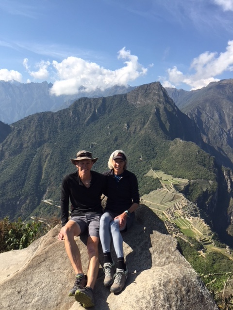 Here we are at top of Wayna Picchu (the young mountain) with Machu Picchu in background.
