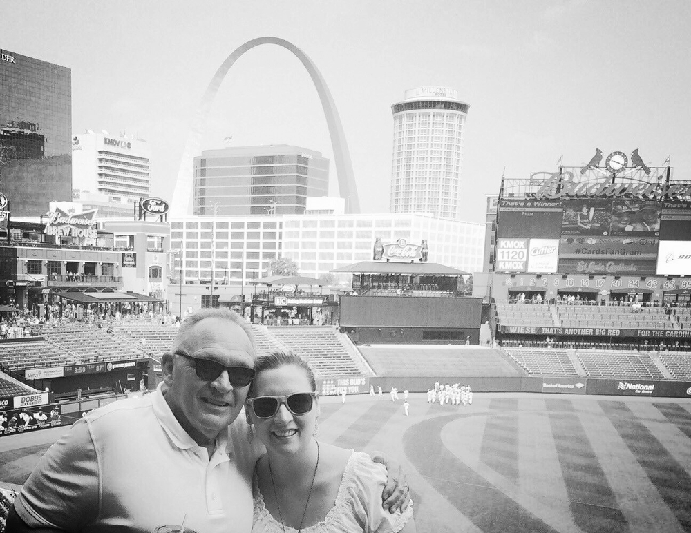 Dad and me at the St. Louis Cardinals game.