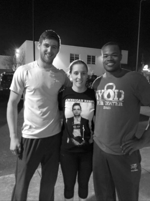 Me and two of my Iron Tribe East Memphis coaches, Chris and Q, after I won the weight loss transformation challenge in February.