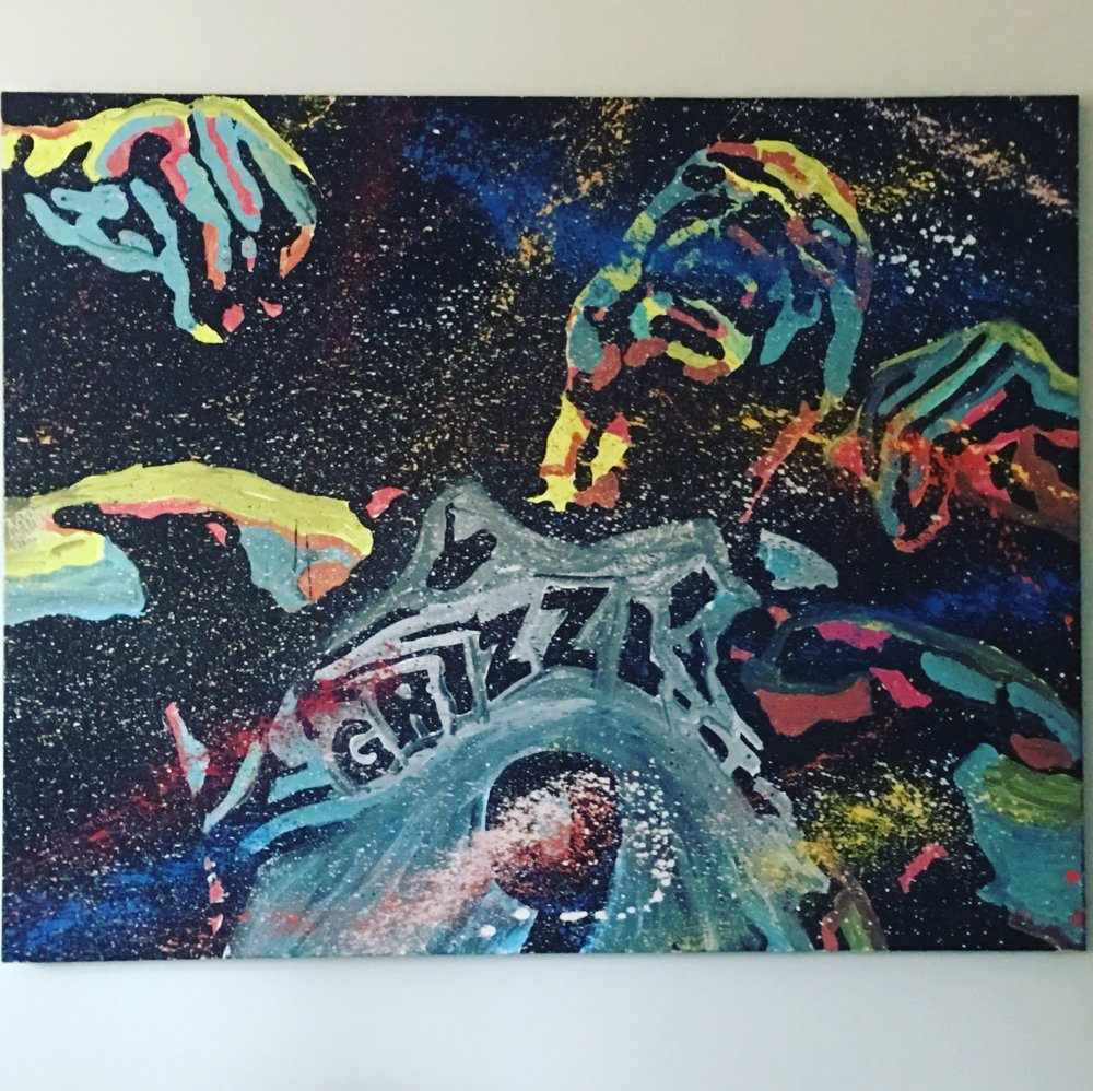 "My BIG Tony Allen painting that is proudly displayed in my ""Tony Allen room."" Artwork by Adam Exelbierd."