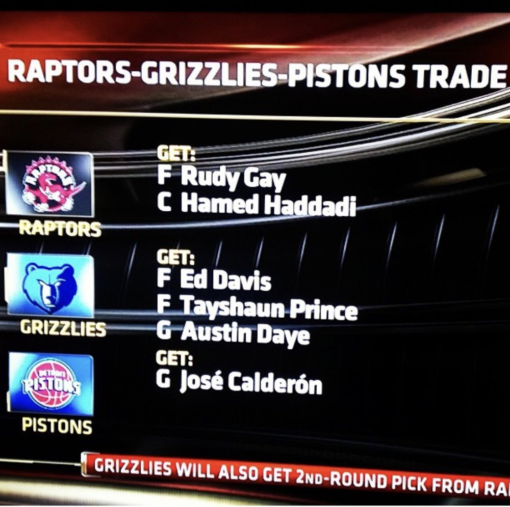 A screenshot on the Rudy Gay trade in 2013 that I pulled from my Instagram page.