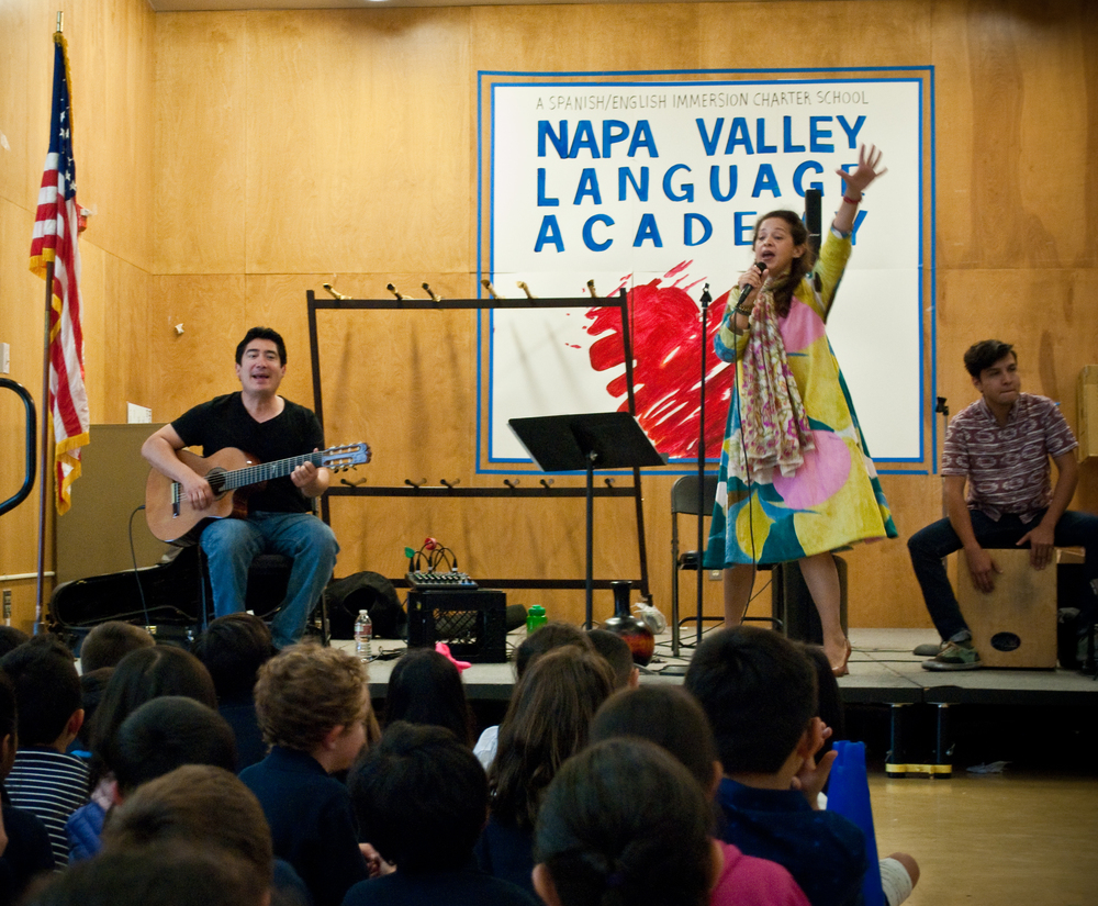 Perla Batalla performs at the Napa Valley Language Academy