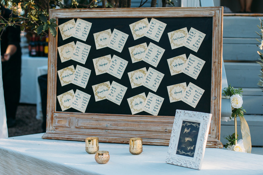 Each table was named for a significant location in Tamara + Eddie's relationship. Their seating chart reads like a story of their journey together.