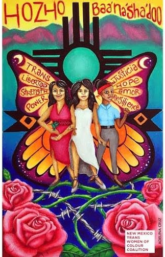 Artwork by Adelina M. Cruz on behalf of the New Mexico Trans Women of Colour Coalition (Mi Vida Jota Art by Adelina M. Cruz)