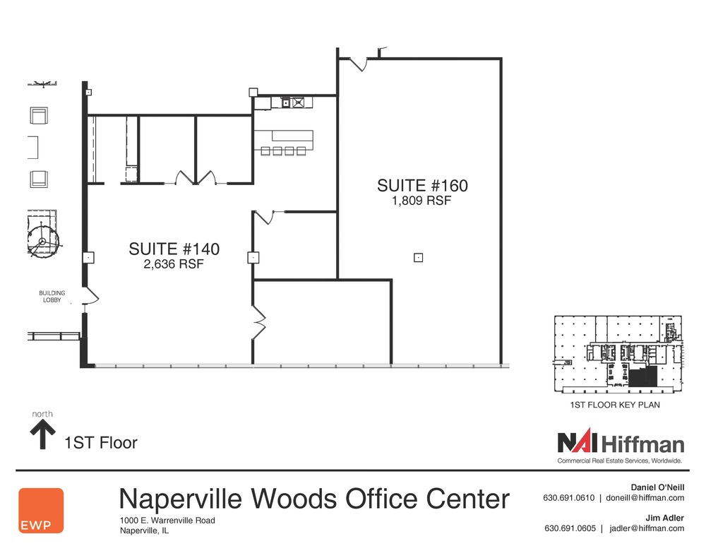 1000 Warrenville Rd Suites 140 & 160 2,636RSF & 1,809 RSF