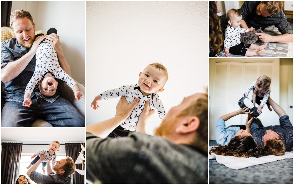 Indoor Lifestyle Family Photo of baby playing with dad by Lily Jean Photography