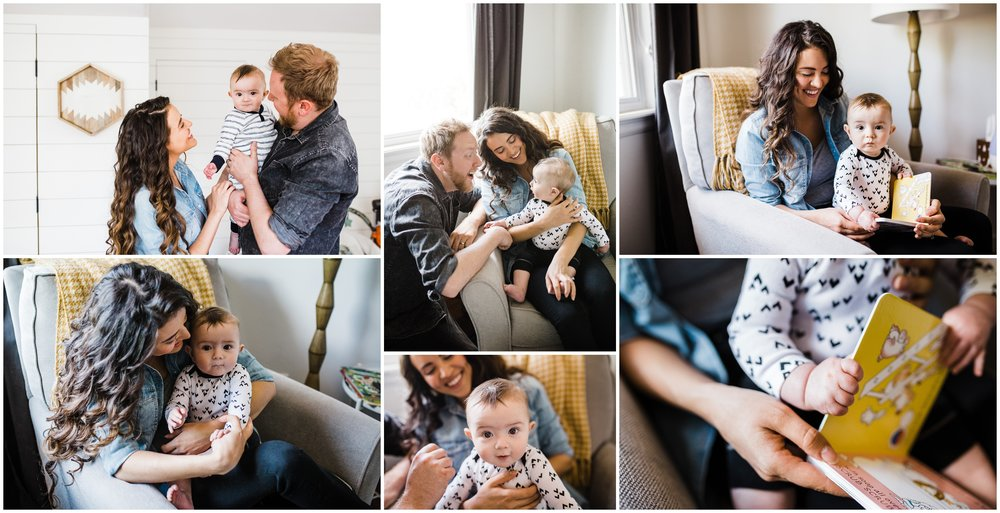 lifestyle family photos of baby reading books by lily Jean Photography