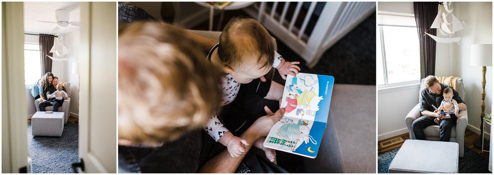 dad reading books with baby by Lily jean Photography