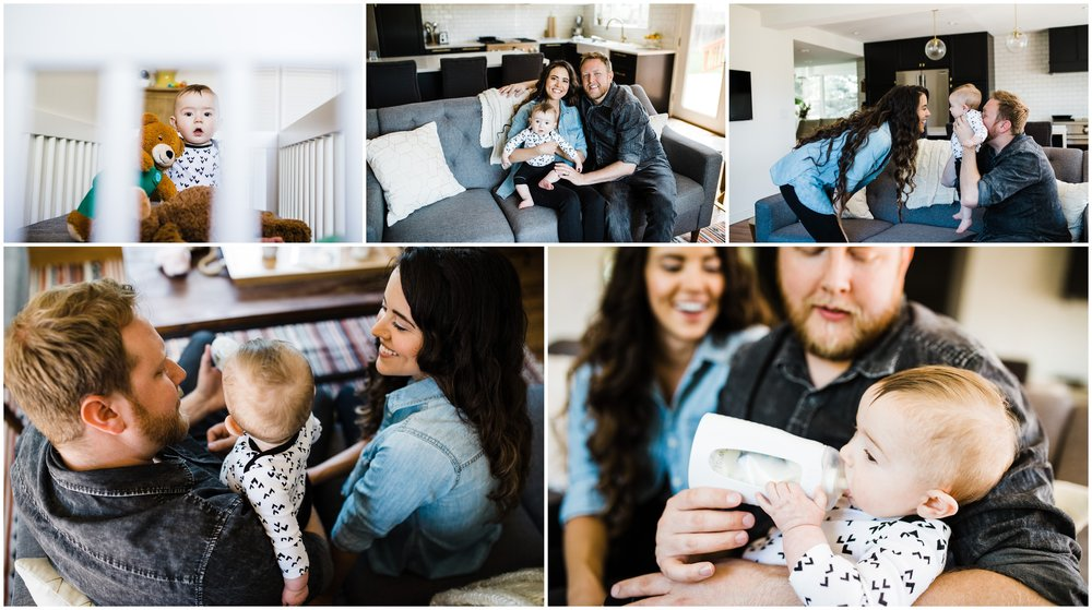 Lifestyle family photos of parents with baby by Lily jean Photography