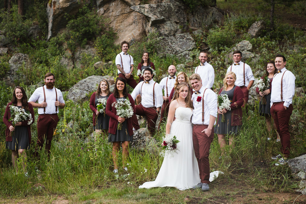 Evergreen Colorado wedding party by lily jean photography