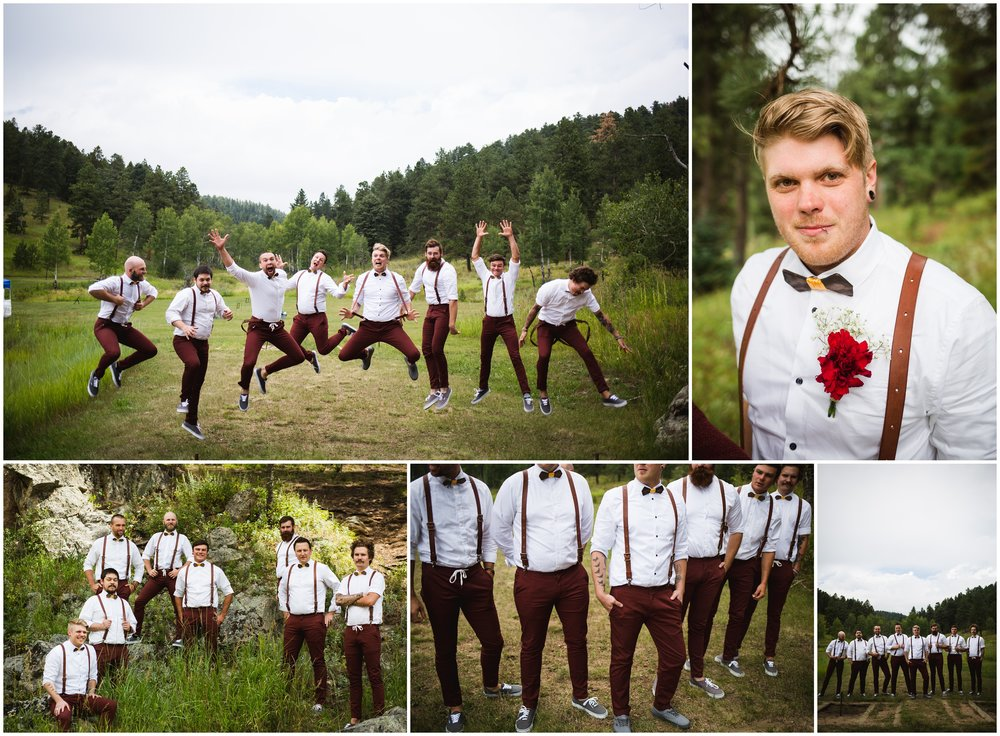 groomsmen in suspenders and bow ties by Lily jean Photography