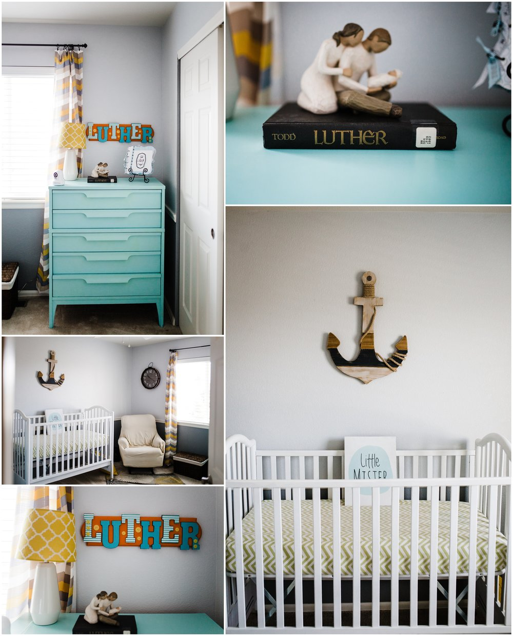 colorful boys nursery with anchor