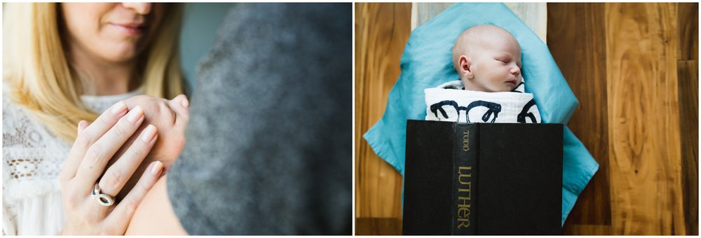 Newborn with book lifestyle image by Lily Jean Photography