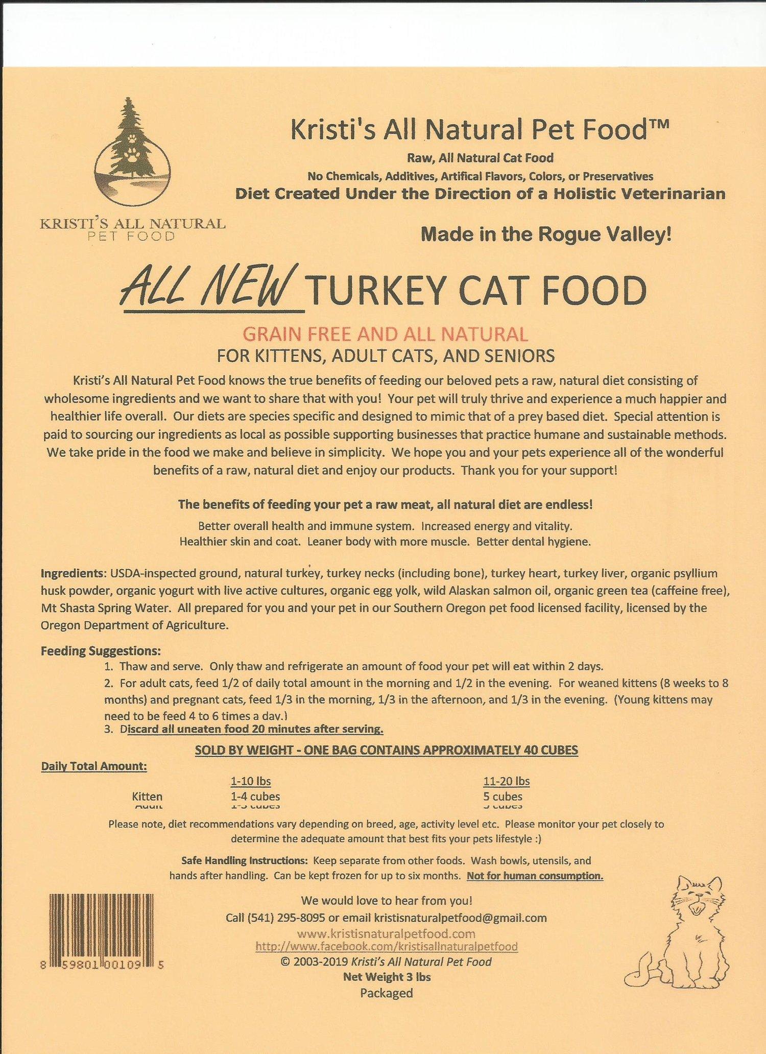 Turkey Cat Food — Kristi's All Natural Pet Food
