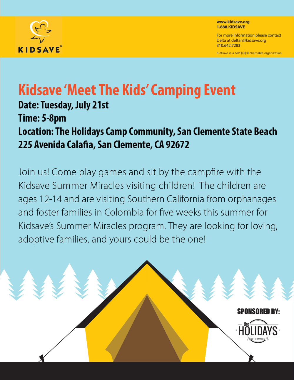 Kidsave Meet the Kids Camping Event Flier