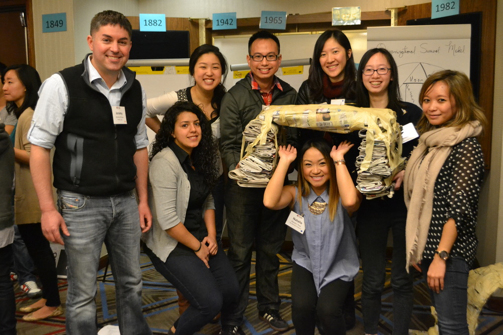 "Above:  At Kick-Off, the ""bridge-building"" activity was a great way for the class to bond with each other! Click for more pictures:  Puget Sound ,  Navigation ,  Portland"