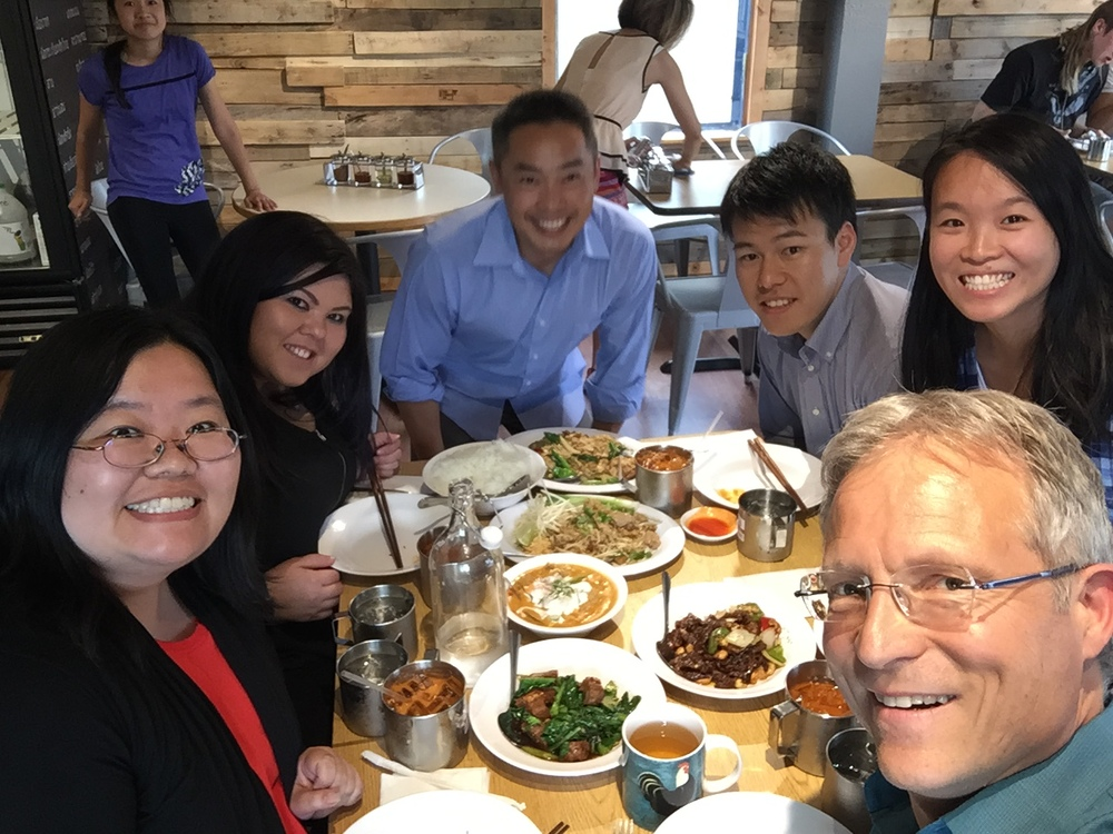 Left to Right: Marci Nakano, Brittany Ryerson, Poe Wongpa (Class of 2015), Tomo Nakano, Vivian Huang, & Kelly Verbicky (Class of 2016) enjoy tasty Thai food at Poe's restaurant in Auburn, Gor Gai Thai.