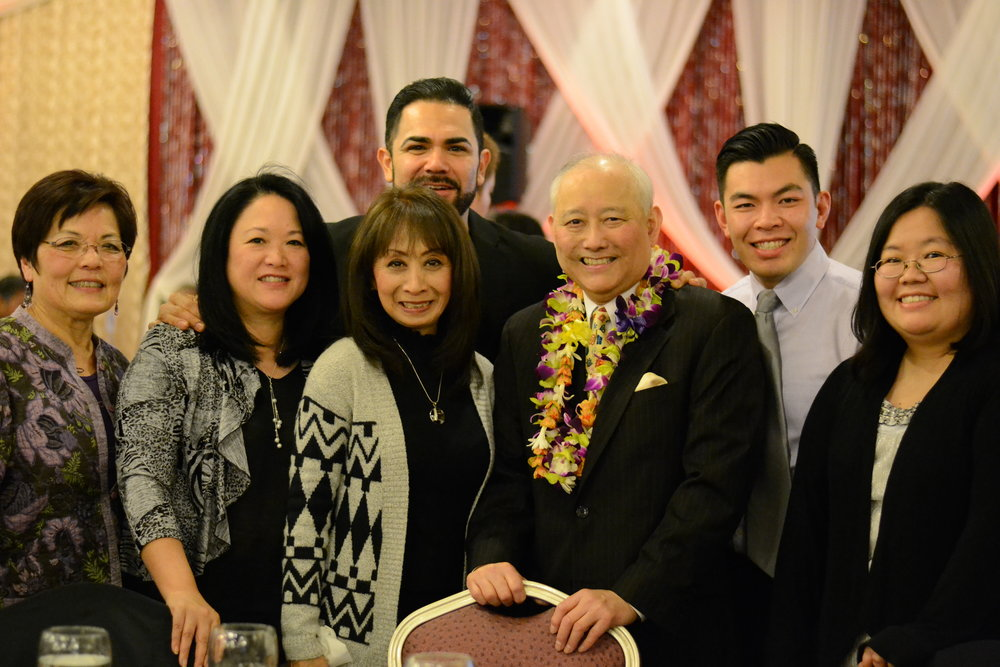 Left to Right: Char Grinolds, Colleen Yamaguchi, Cesar Amaral, Al Sugiyama, Quang Lam, and Marci Nakano at OCA dinner where Al was honored with a lifetime achievement award.