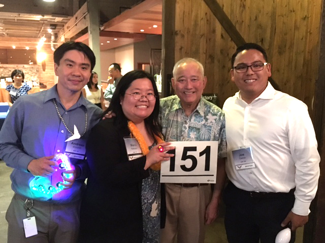 Left to Right:  At 2016 Inclusion Fusion, Andreas Winardi, Marci Nakano, Al Sugiyama, and Joe Darza pose with bidder number (Photo by John Liu/NWAW)