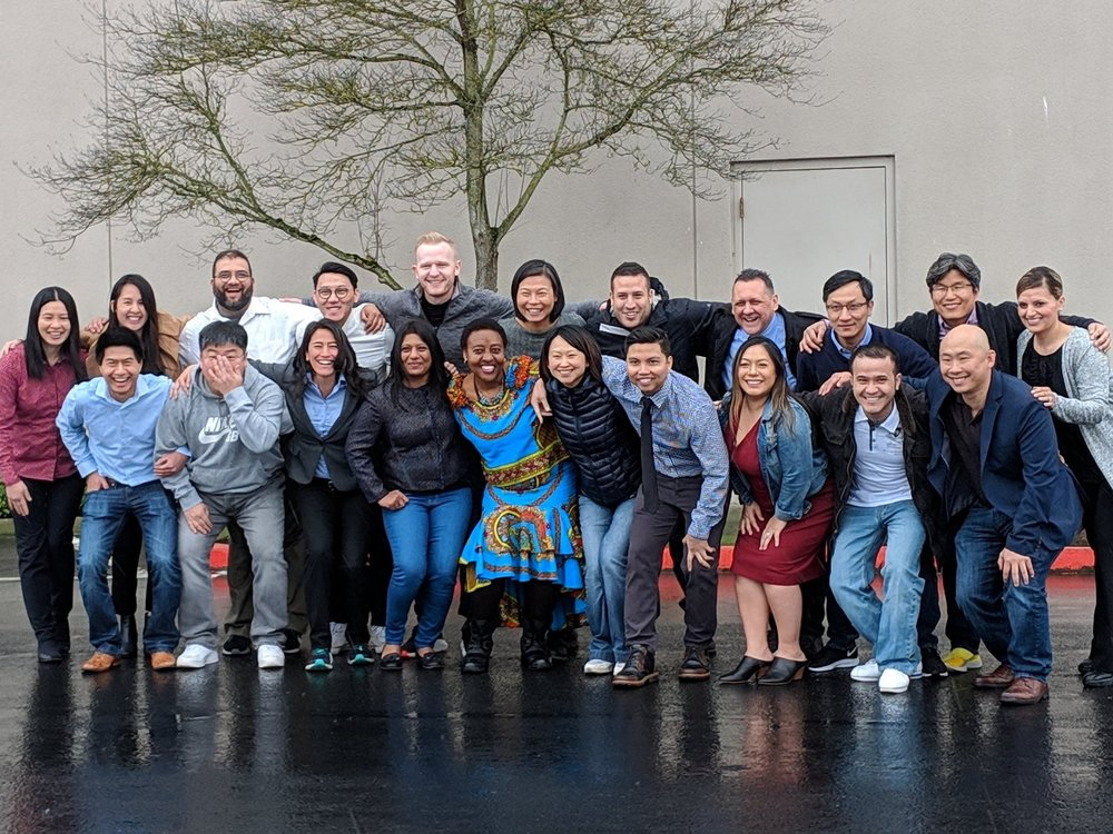 """The 2019 Leadership Discovery Portland cohort poses for pictures during their Kick-Off in March. They chose the team name """"All In"""" for their group."""