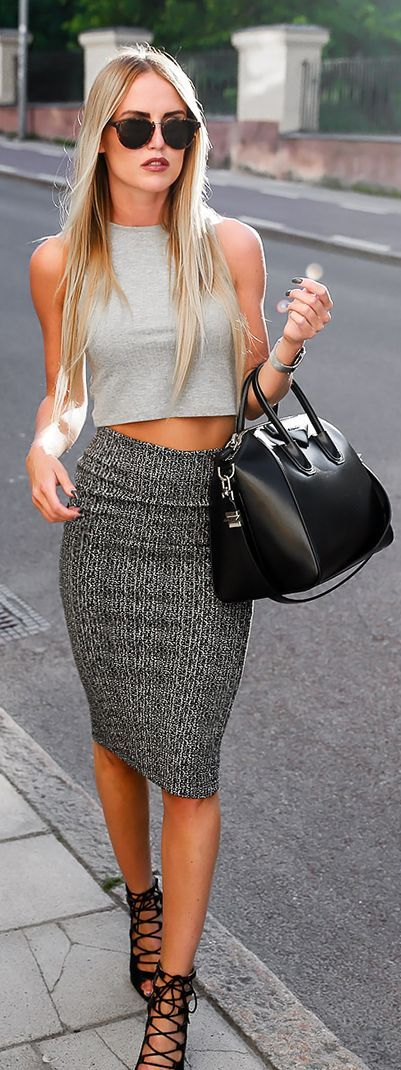 crop and pencil skirt