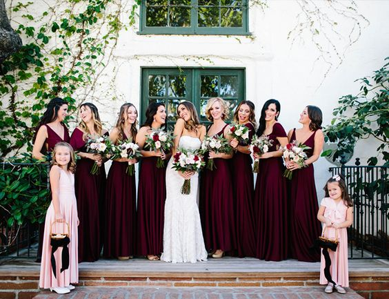 burgundy bridal party inspo