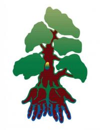 Green tree with a brown/red trunk and hands for roots .