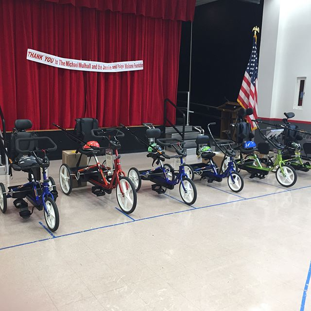 Today, with the help of our friends at @share_the_voice  we donated 7 mobility tricycles to children of Long Island. These tricycles help children with special needs be more active and engaged with their peers.  Thanks to all of our supporters for making these donations possible! We hope to see everyone at The Purple Tie Stakes at Belmont Raceway on 9/22!!