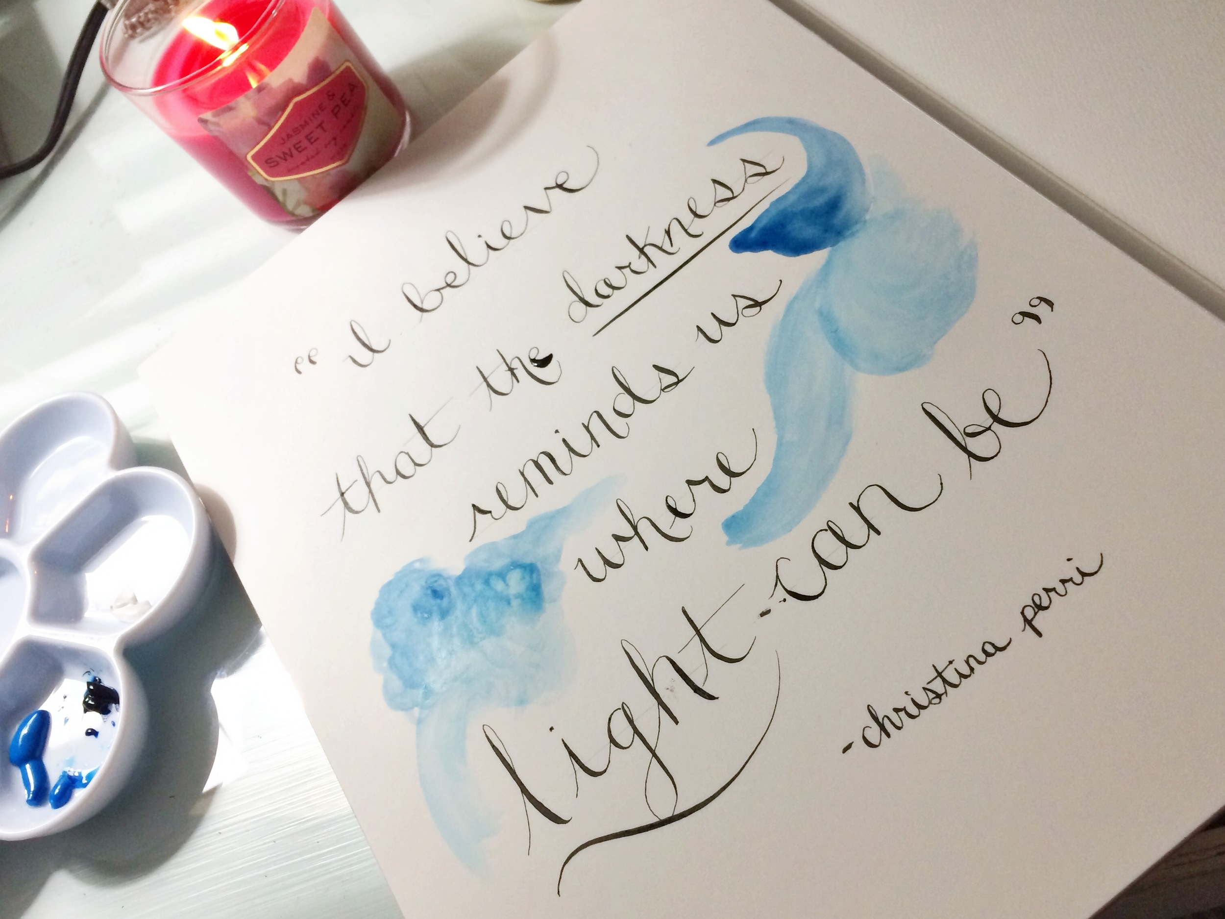 practicing my calligraphy and playing with a new set of watercolors & watercolor paper.