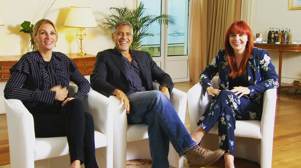 hosting a facebook live event at the cannes film festival with Julia roberts & george clooney