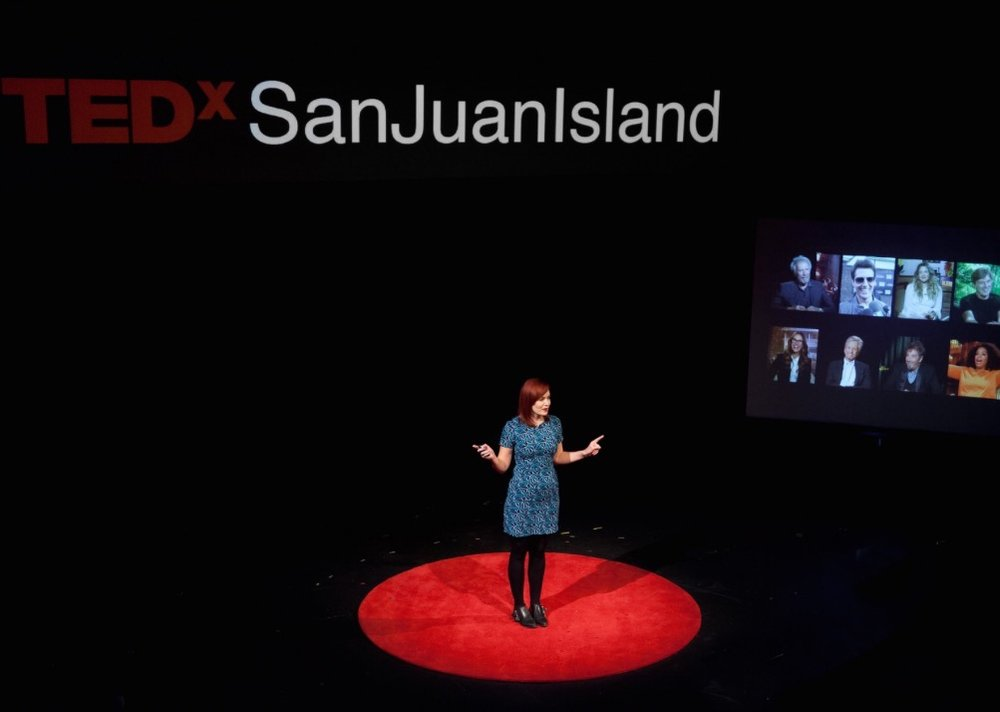 giving a talk at TEDx San juan island about the lack of women working in film