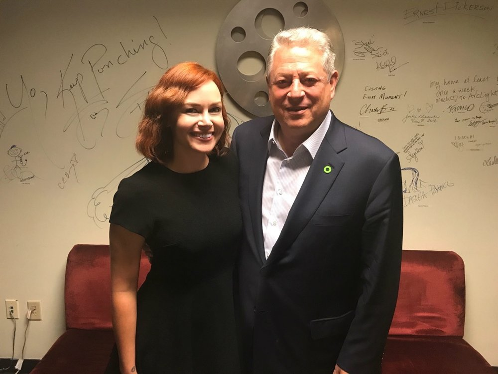 with former vice-president al gore after moderating a Q&A for 'an inconvenient sequel'