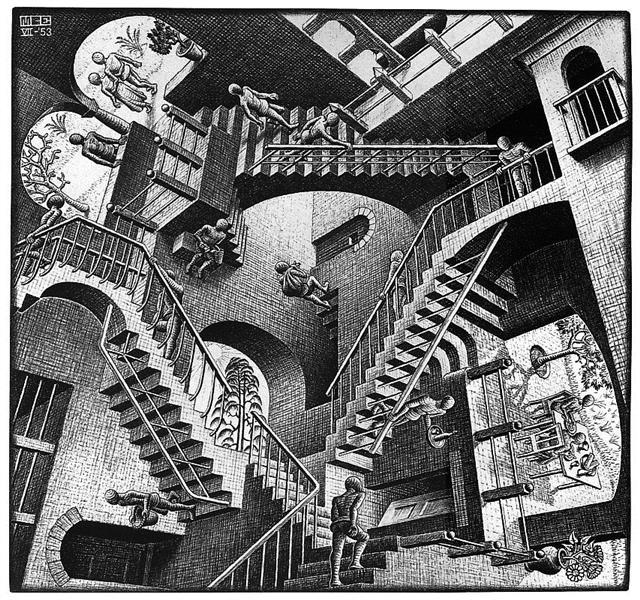 M.C. Escher,  Relatividade  (1953), litografia.