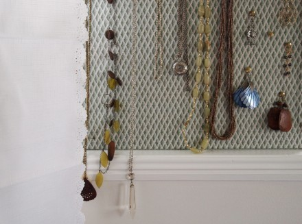 curtains and jewellery board in the office