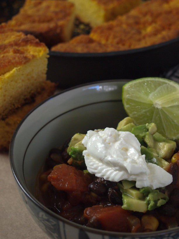 black bean soup with skillet corn bread