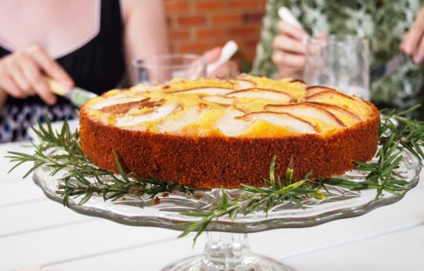 cornmeal cake with stone fruit and rosemary