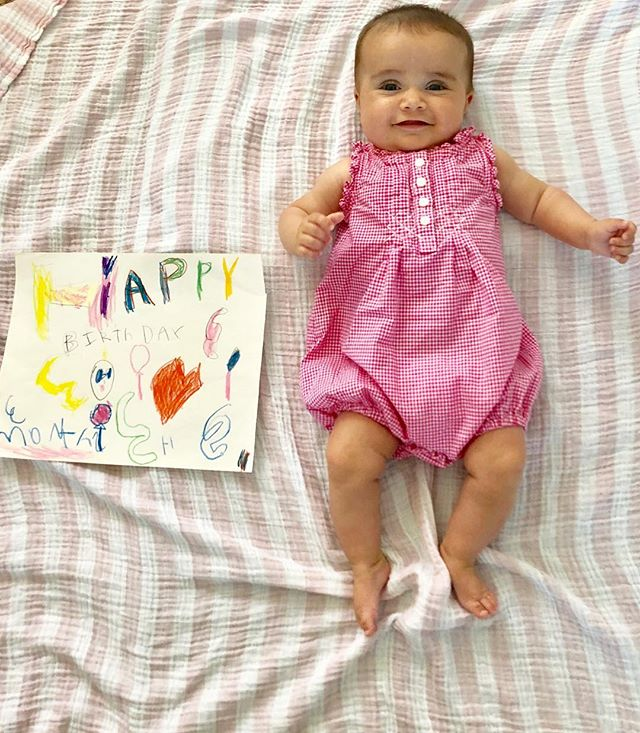 Happy 3 months to our vivacious, happy girl!! 💗🎀 (sign by cousin Zoe)