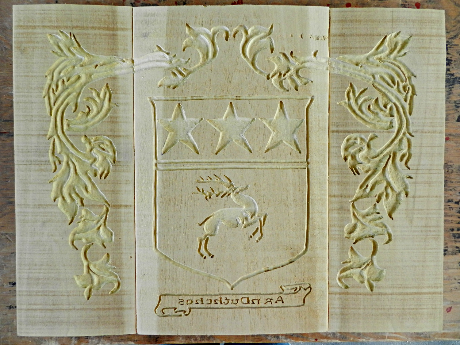 Hand-Carved Tile Mold, Made From Poplar Wood