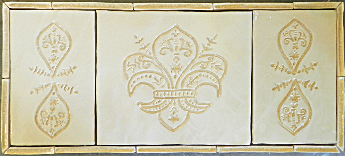Crystalized Leilani center tile with custom-created side panels.  Gloss White with Clear Glass.