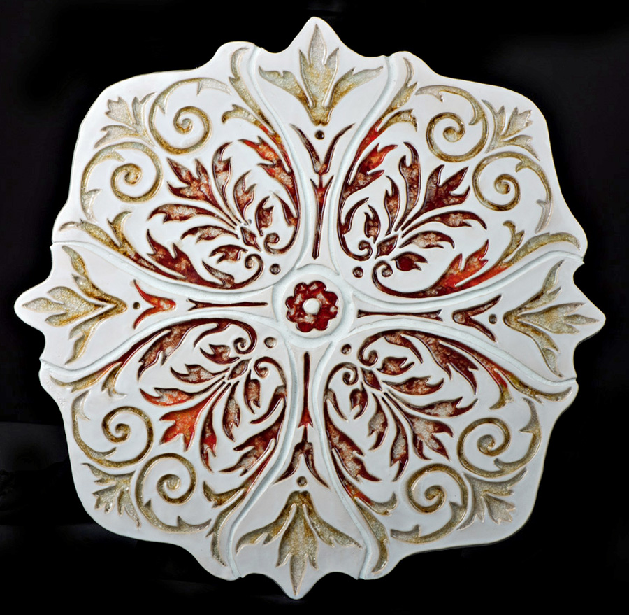 """Flame Flower""  37 inches diameter, to be show at the Everson Museum Robineau Gallery Aug 30-Jan 4"