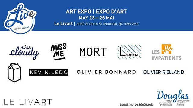 We are so excited to be launching our art expo highlighting the work of Montreal artists who express themes related to mental health TOMORROW, beginning at 10:00am. Be sure to pass by @lelivart this week if you are unable to attend the Gala on May 26th!  Opening Hours: Wednesday: 10:00am to 6:00pm Thursday: 10:00am to 6:00pm Friday: 10:00am to 6:00pm Saturday: 10:00am to 5:00pm, GALA beginning at 6:00 pm (tickets required for entry)