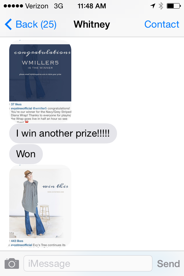 Texts from my wife about one of her contest wins.