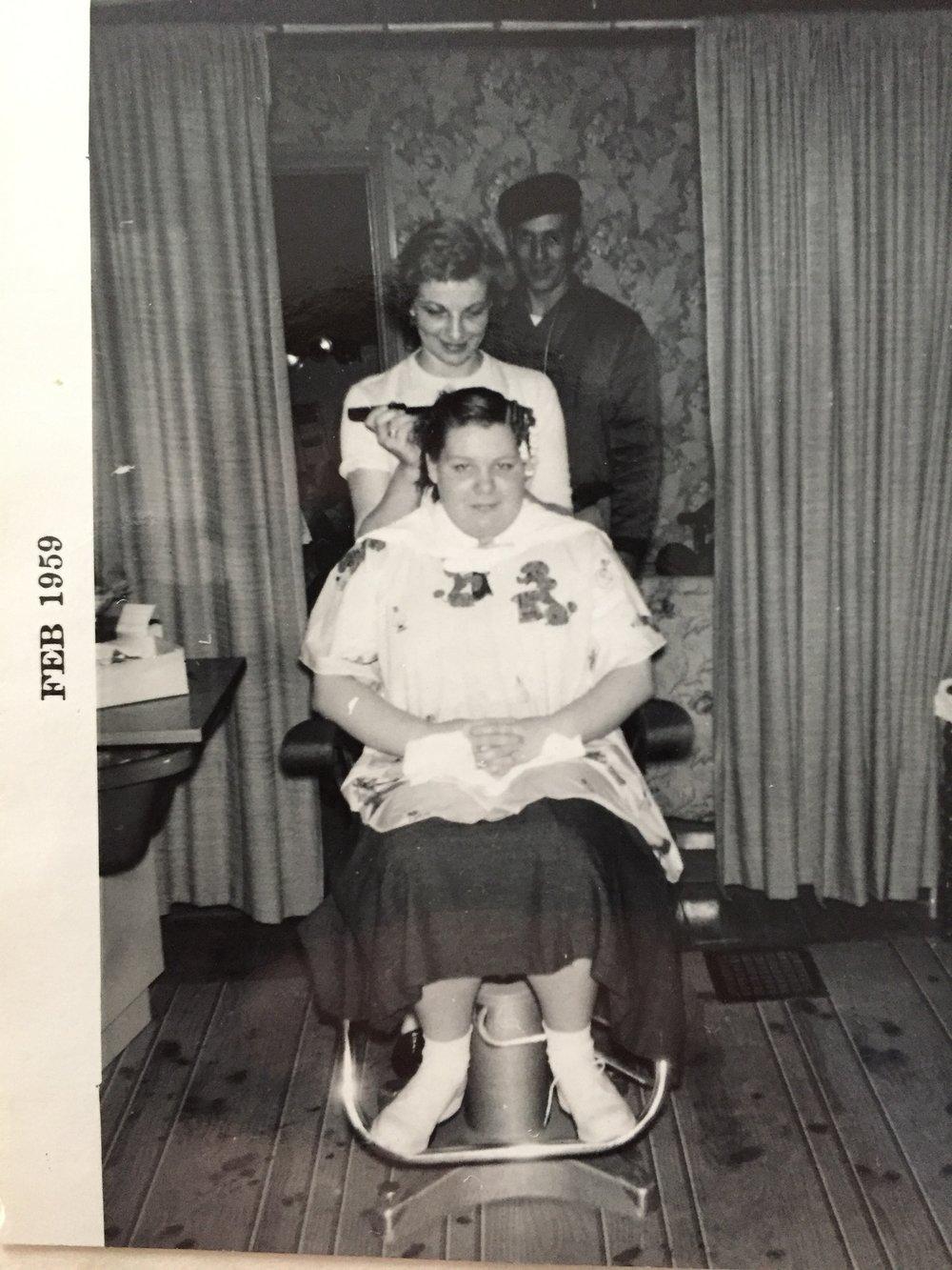 Nanny in her salon.
